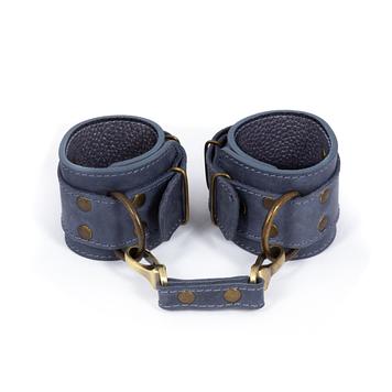 Премиум наручники LOVECRAFT голубые, натуральная кожа, в подарочной упаковке