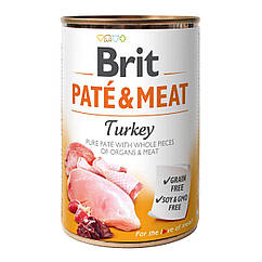 Влажный корм для собак Brit Pate & Meat Turkey 400 г (курица и индейка)