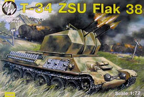 Самоходная зенитная установка ЗСУ-38 на базе танка T-34. Сборная модель в масштабе 1/72. MILITARY WHEELS 7213
