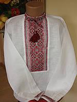 Хлопчача вишиванка ручної роботи сірий льон