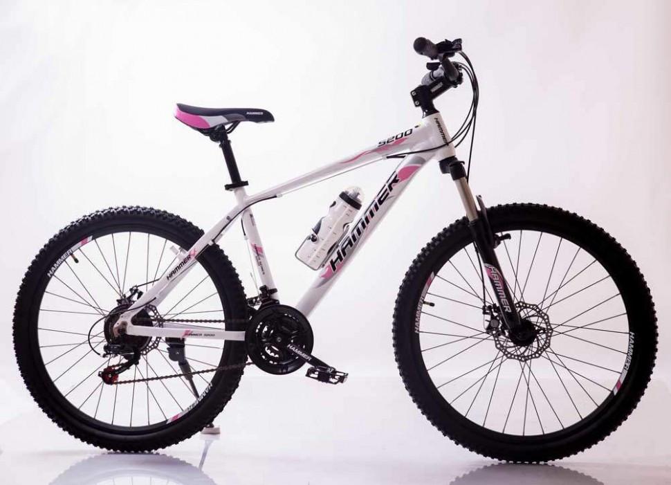 """Велосипед Спортивный S200 HAMMER 26 дюймов рама алюминий 17"""" бело-розовый"""