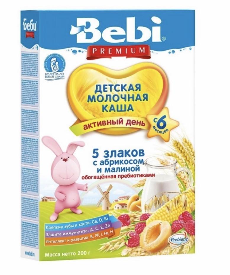 Молочная каша 5 злаков с малиной и абрикосом с пребиотиком  Bebi Premium (Беби Премиум) с 6 месяцев , 200 г