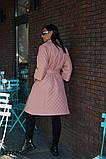 Удлиненное стеганое женское пальто пудра р. 50, 52, 54, 56-58, 60-62, фото 2