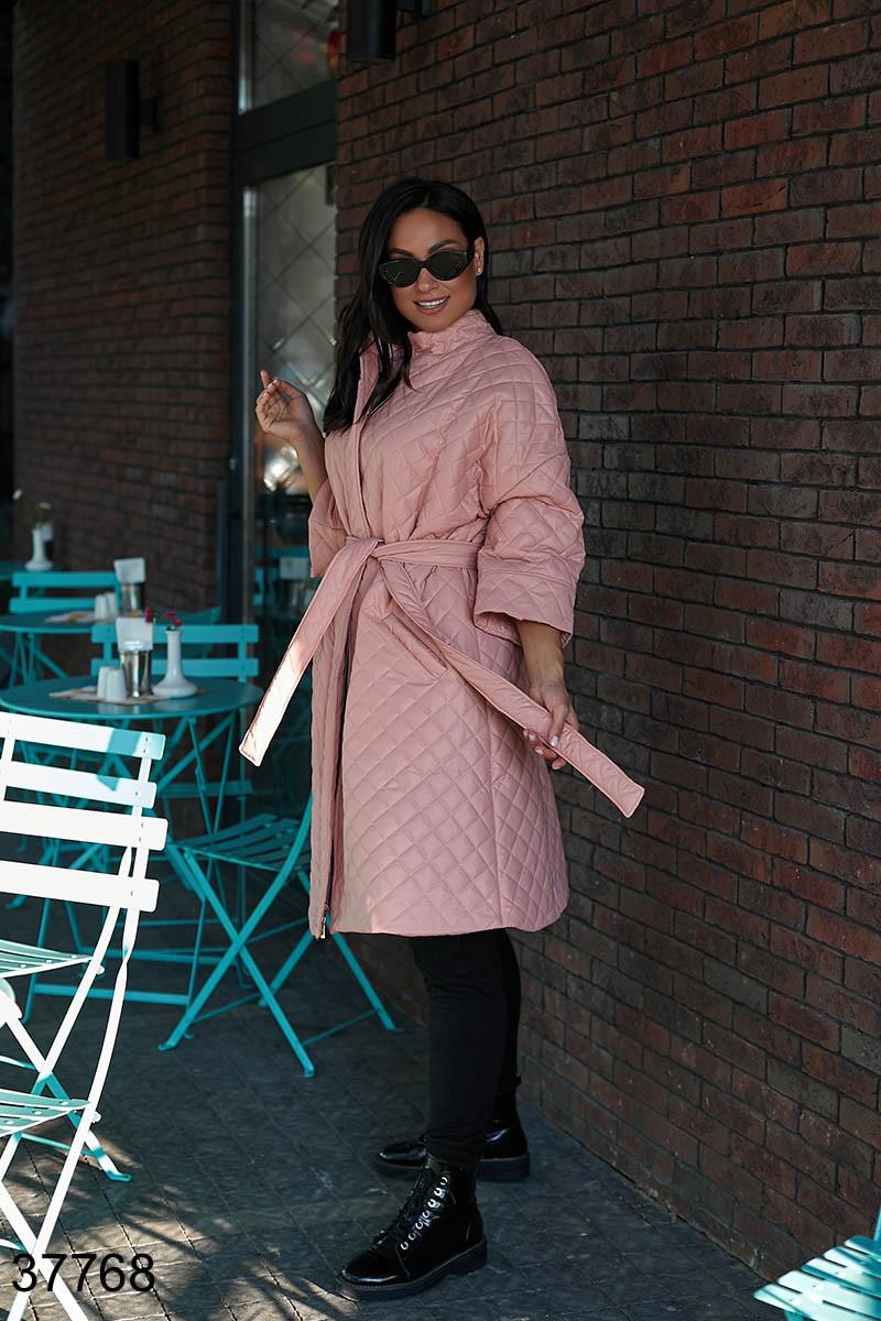 Удлиненное стеганое женское пальто пудра р. 50, 52, 54, 56-58, 60-62