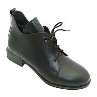 Ботинки на невысоком каблуке на шнуровке женские из натуральной кожи, сезон весна-осень