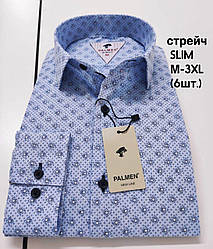Мужская стрейчевая рубашка  Palmen slim с принтом