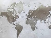 Фотообои бесшовные флизелиновые экологически чистые BBG Map карта мира бежевая коричневая