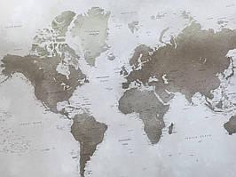 Фотошпалери безшовні флізелінові екологічно чисті BBG Map карта світу бежева коричнева
