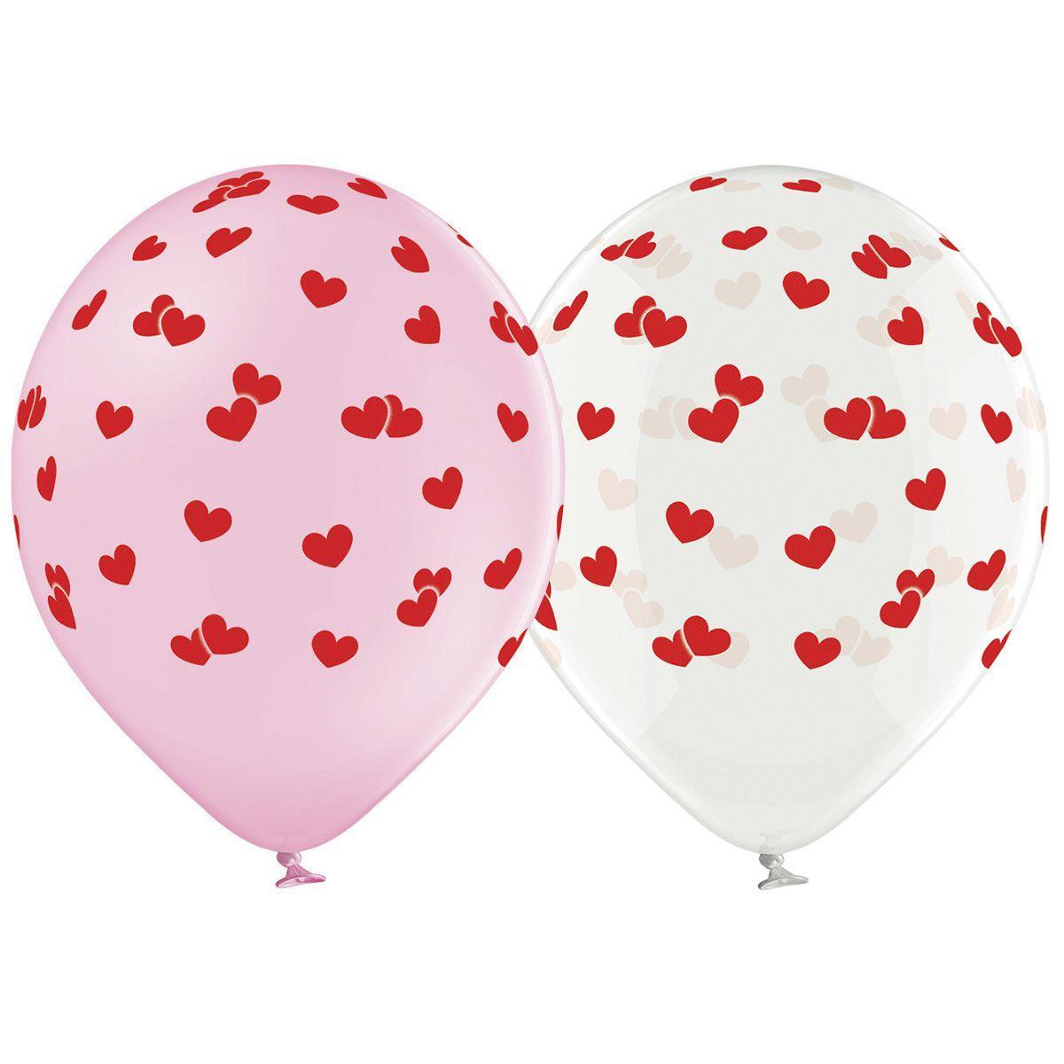 B 105 Латексные шары  сердечки красные маленькие шелкография 30 см