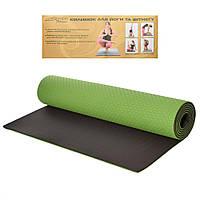Йогамат коврик для йоги и фитнеса TPE 6 мм размер 183-61 см, двухцветный двухсторонний (зеленый с черным)