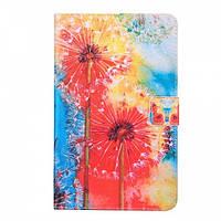 Кожаный чехол-книжка для Samsung Galaxy Tab E 9.6 SM-T560/56 TTX Flip Wallet (Одуванчик) с функцией подставки, фото 1