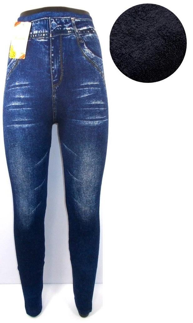Леггинсы джинс с высокой посадкой на плотной махре 901-3 размер 44-52