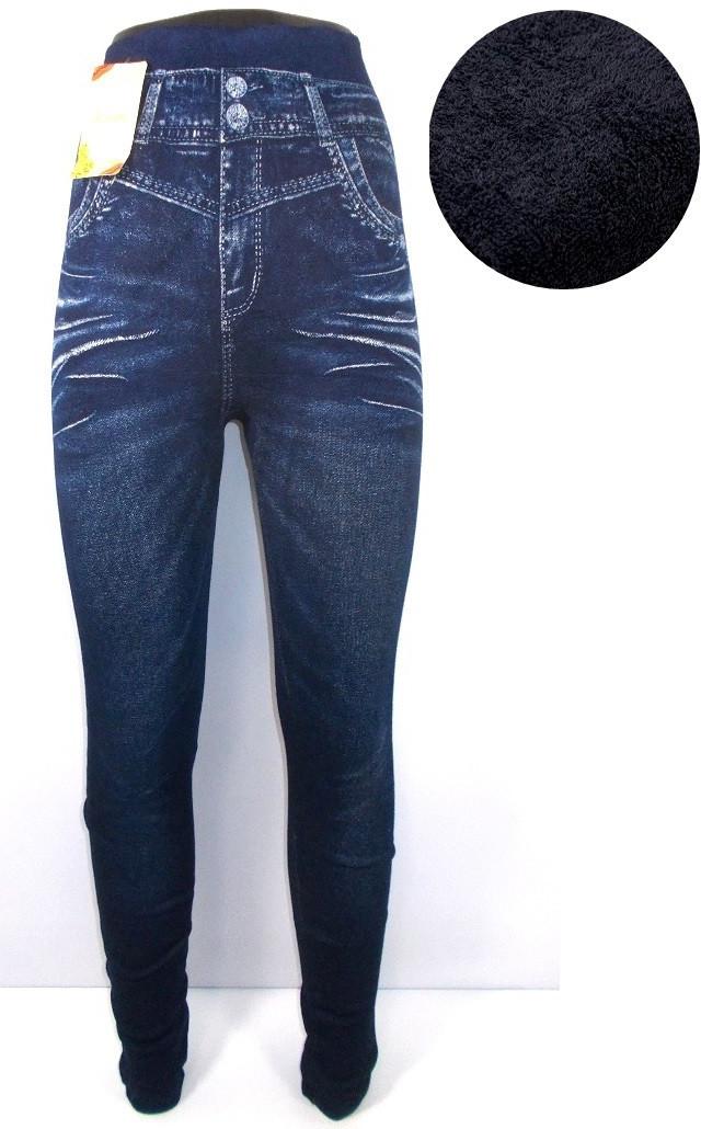 Леггинсы джинс с высокой посадкой на плотной махре 901-4 размер 44-52