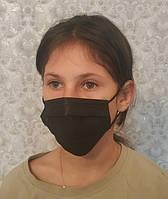 Маска медицинская детская подростковая многоразовая штампованная с носовым зажимом Черная