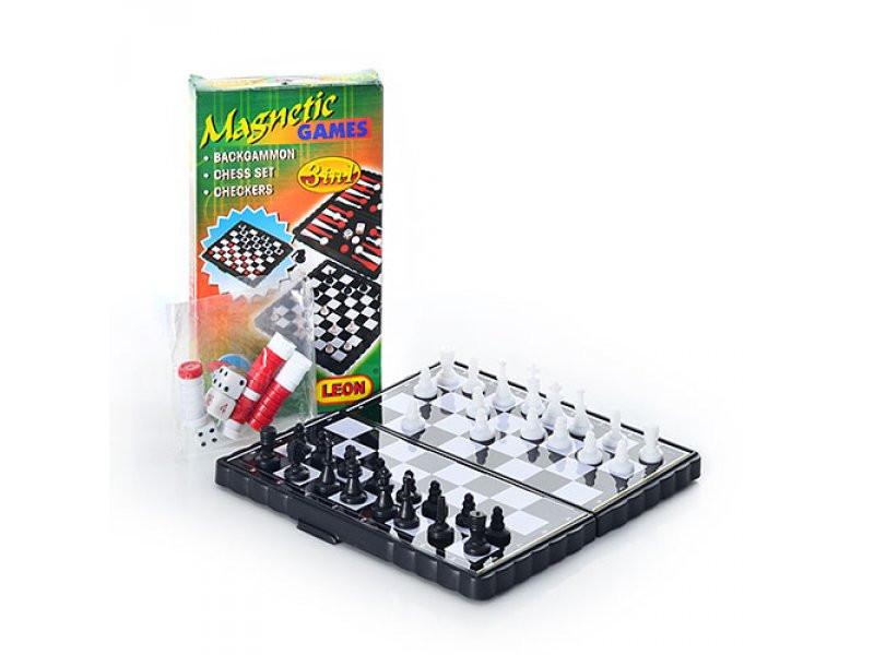 Шахматы 2831 3 в 1 мал, в коробке, 13,5-7,5-2 см