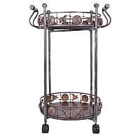 Столик сервировочный металлический на колесах,82см*56см