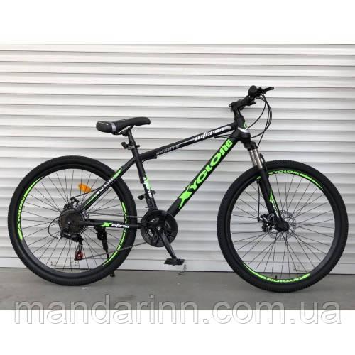 Спортивный велосипед TopRider-801 26 дюймов для взрослых. Салатовый. Рама 17