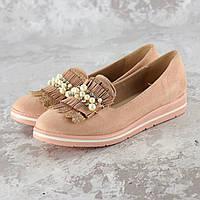 Туфли балетки женские замшевые пудровые 1038, фото 1