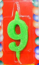 Свеча-цифра на торт 9 разноцветные