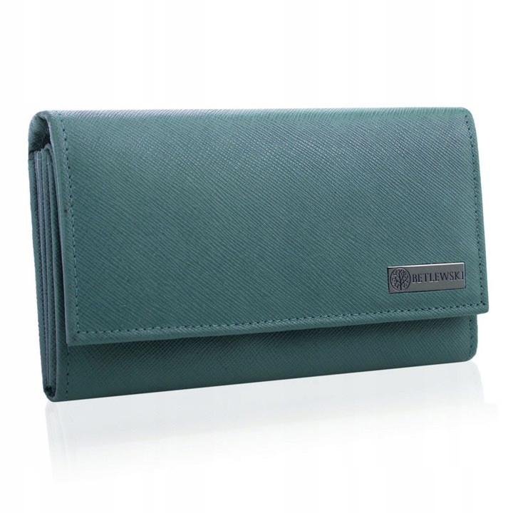 Жіночий шкіряний гаманець Betlewski з RFID 16,5 х 9,8 х 3,5 (BPD-SA-10) - блакитний