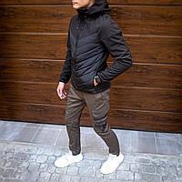 Куртка мужская демисезонная Combi до 0*С черная | ветровка теплая осенняя весенняя с капюшоном | Премиум