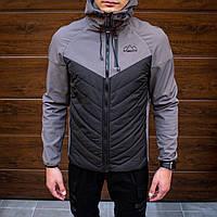 Куртка мужская демисезонная Combi до 0*С серая | ветровка теплая осенняя весенняя с капюшоном | Премиум