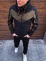 Ветровка мужская демисезонная Soft Shell хаки | Куртка с капюшоном осенняя весенняя ЛЮКС качества