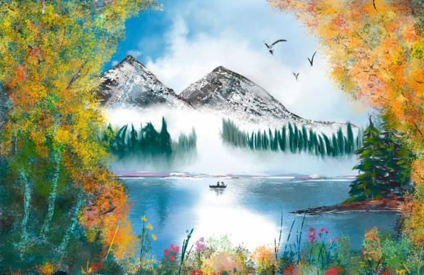 """Картина по номерам RAS2264_O 20*30см """"Озеро в горах"""" OPP (холст на раме с краск. кисти), фото 2"""