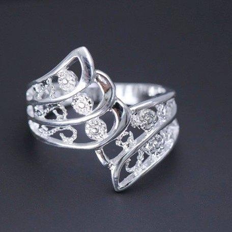 Посеребренное ажурное кольцо Дженна, 17 р.,3842