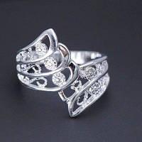 Посеребренное ажурное кольцо Дженна, 17 р.,3842, фото 1