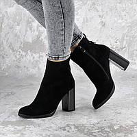 Женские замшевые ботинки классика на каблуке черные 1453, фото 1