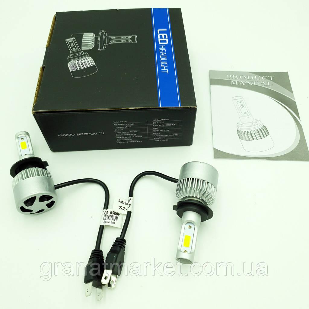 Комплект H7 2 LED лампы светодиодные головного света с вентилятором 12в COB 36Вт 6500K 8000Lm HeadLight S2 H7