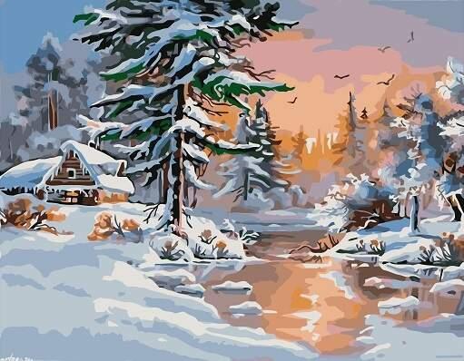 """Картина по номерам RAS2291_O 20*30см """"Зимний лес"""" OPP (холст на раме с краск. кисти)"""
