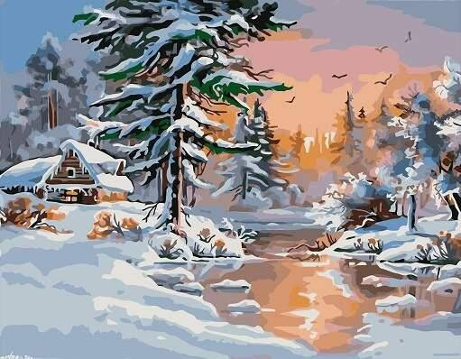 "Картина по номерам RAS2291_O 20*30см ""Зимний лес"" OPP (холст на раме с краск. кисти), фото 2"
