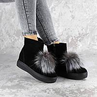 Женские зимние ботинки натуральная замша и опушка на танкетке 38 размер - 24 см 1407, фото 1