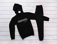 Мужской черный теплый зимний спортивный костюм, костюм с капюшоном на флисе Calvin Klein Jeans, реплика, фото 1