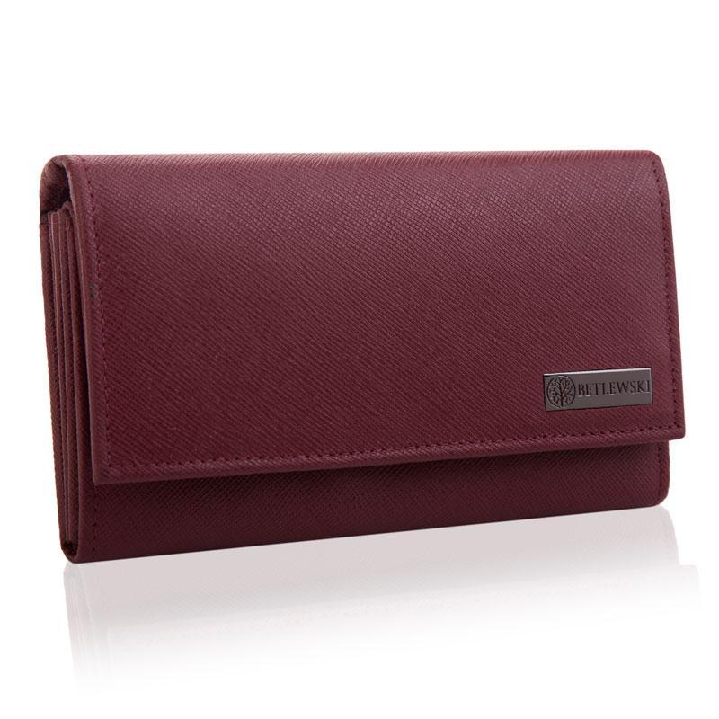 Жіночий шкіряний гаманець Betlewski з RFID 16,5 х 9,8 х 3,5 (BPD-SA-10) - бордовий