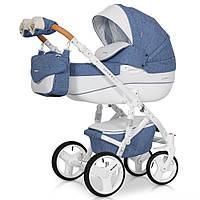 Коляска для дитини,трансформер,якісна,біло-блакитна. Riko Brano Luxe 04 Denim