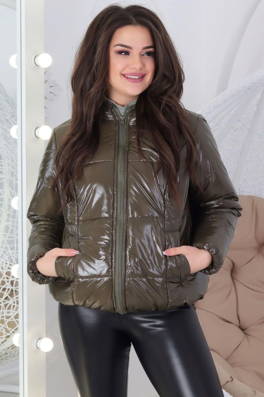 Женская куртка темно-оливковая блестящая 48-50,50-52 52-54,54-56