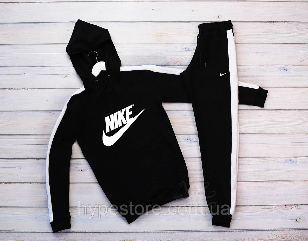 Мужской черный теплый зимний спортивный костюм, с лампасами, с капюшоном на флисе Nike, реплика