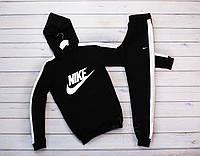 Мужской черный теплый зимний спортивный костюм, с лампасами, с капюшоном на флисе Nike, реплика, фото 1