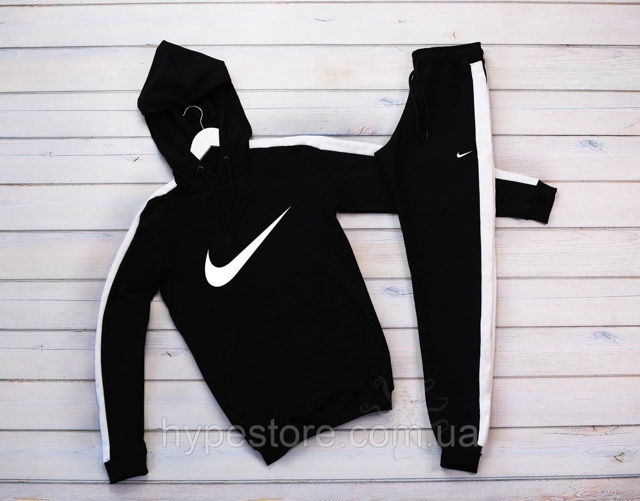 Мужской теплый зимний спортивный костюм, с лампасами, с капюшоном на флисе Nike, реплика