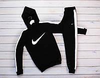 Мужской теплый зимний спортивный костюм, с лампасами, с капюшоном на флисе Nike, реплика, фото 1