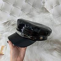 Женский картуз, кепи, фуражка лаковый со стразами черный, фото 1