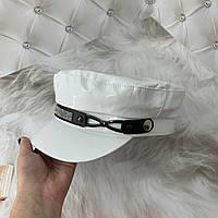 Женский картуз, кепи, фуражка лаковый со стразами белый, фото 1