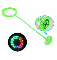 Светящаяся скакалка крутилка с колесиком на одну ногу Зеленая