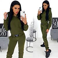 Тёплый женский спортивный костюм на флисе штаны и кофта батник с капюшоном хаки 42-44 46-48, фото 1