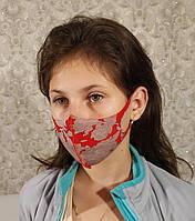Маска детская подростковая многоразовая защитная Питта полиуретан Красно-серый рисунок принт