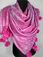 Двухсторонний розовый палантин с мехом