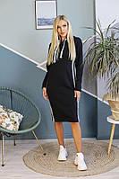 Теплое платье с капюшоном больших размеров